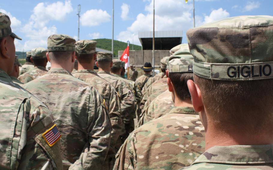 Bandit Troop, 2nd Platoon leader 2nd Lt. John Giglio stands in formation with his soldiers at Camp Nothing Hill, Kosovo, on May 20, 2018, during a change of command ceremony. Soldiers from 2nd Platoon reported smugglers during a screen observation post operation.