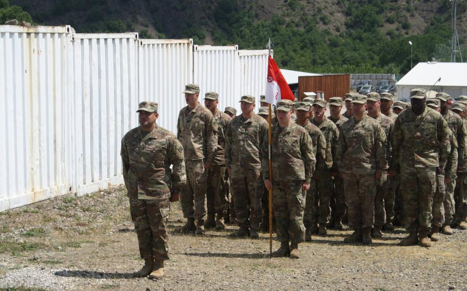 Bandit Troop commander Capt. Paul Patino stands in formation with Bandit Troop at Camp Nothing Hill, Kosovo, on May 20, 2018, during a change of command ceremony. Bandit Troop conducts screen observation post operations and patrols on the Administrative Boundary Line between Kosovo and Serbia to assist the Kosovo Border Police in stopping smugglers.