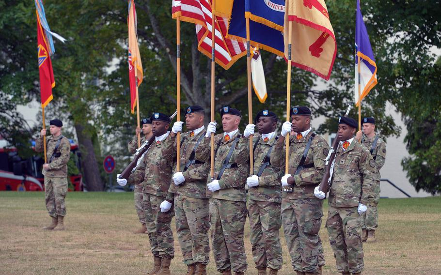 The U.S. Army Garrison Rheinland-Pfalz honor guard at the unit's change-of-command ceremony in Kaiserslautern, Germany, Wednesday, July 11, 2018. Col. Jason Edwards took command from Col. Keith Igyarto at the ceremony on Daenner Kaserne.