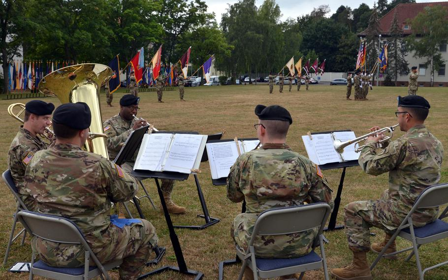 The U.S. Army Europe Band's Brass Quintet plays the German national anthem at the U.S. Army Garrison Rheinland-Pfalz change-of-command ceremony in Kaiserslautern, Germany, Wednesday, July 11, 2018. Col. Jason Edwards took command from Col. Keith Igyarto at the ceremony.