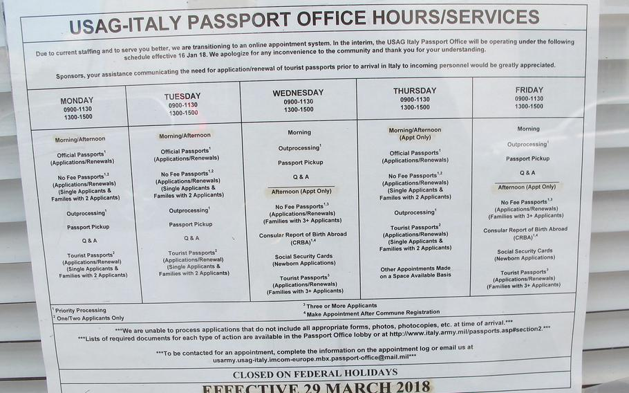 The passport office at Caserma Ederle in Vicenza, Italy, helps process more than 2,000 tourist passports a year. Officials there suggest those assigned to Italy get tourist passports before they arrive, even though the passports are not required, because it makes international travel far easier.
