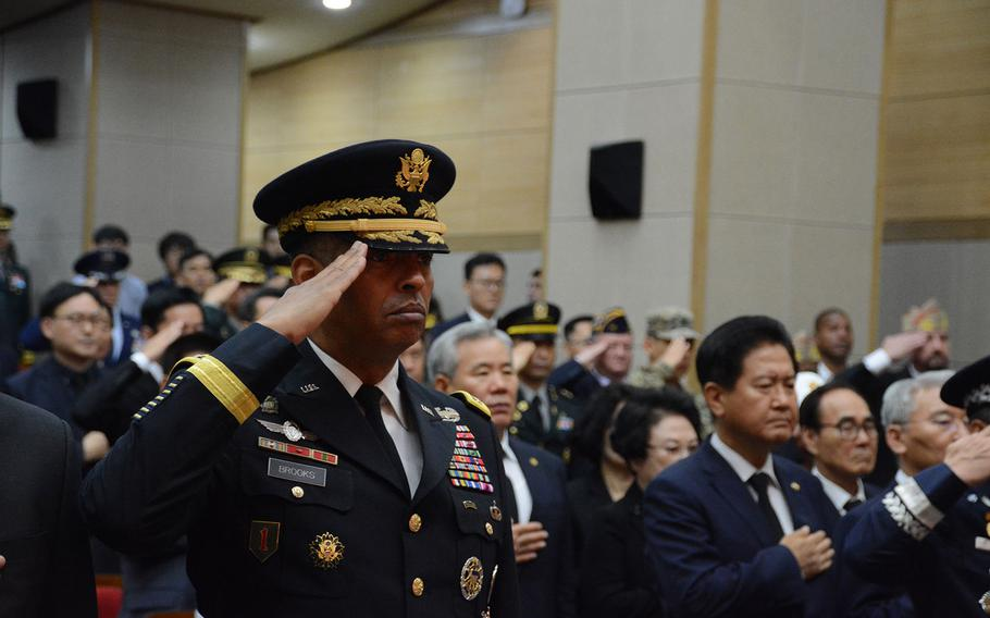 Gen. Vincent Brooks, commander of the United Nations Command, U.S. Forces Korea and the Combined Forces Command, salutes during a July 13, 2018, repatriation ceremony at the National Cemetery in Seoul, South Korea, in which the remains of a U.N. soldier and a South Korean soldier killed in the Korean War were returned.