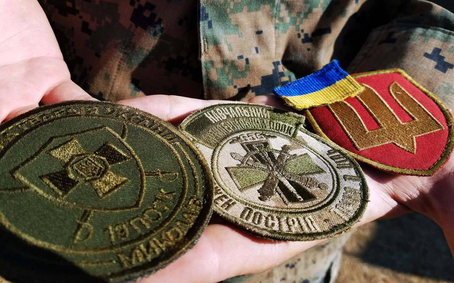 A variety of Ukrainian military patches that Marine Lance Cpl. Tyler Bream, an assaultman with the 2nd Marine Battalion, 25th Marine Regiment, bartered from Ukrainian marines during the Sea Breeze exercise, Saturday, July 14, 2018.