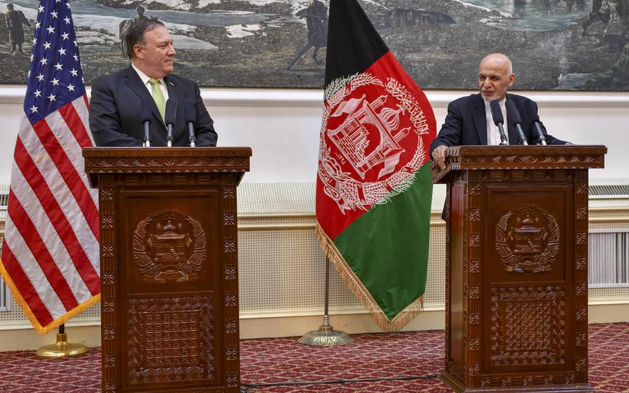 Secretary of State Michael R. Pompeo participates in a press conference with Afghanistan President Ashraf Ghani in Kabul, Afghanistan, on July 9, 2018.