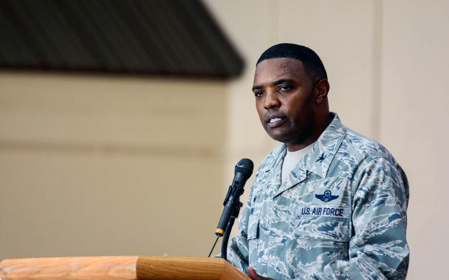 Col. Otis Jones, the new commander of the 374th Airlift Wing, speaks to the assembled airmen during the 374th's change of command ceremony at Yokota Air Base on Friday, July 20, 2018.