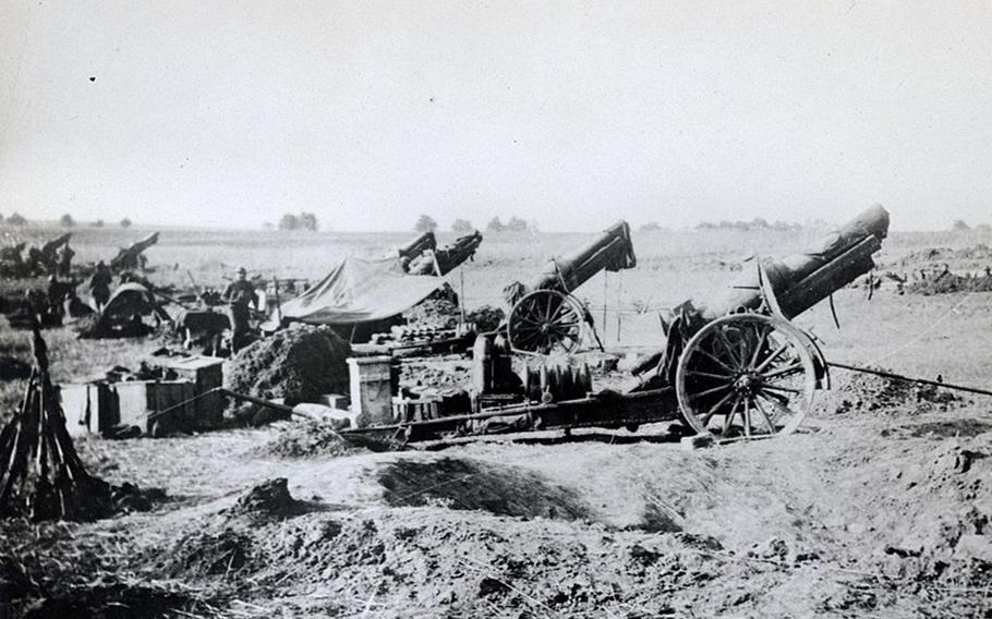 American heavy artillery at Soissons, France, 1918. The Battle of Soissons, the centerpiece of the Aisne-Marne offensives of July 1918, might be considered a decisive moment in the last phase of World War I.