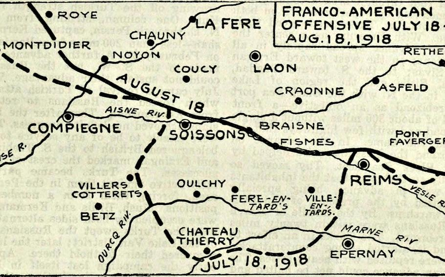 This map shows the battle lines during the Franco-American offensive in France from July 18 to Aug. 18, 1918, during World War I.