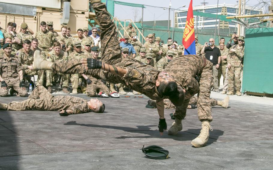 Soldiers with the Mongolian Expeditionary Task Force Seven hold a Naadam festival at New Kabul Compound in Kabul, Afghanistan, July 12, 2018, to celebrate the Mongolian Revolution of 1921 and their country's independence.