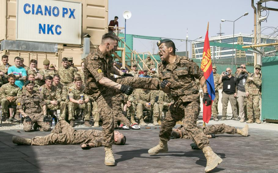 Soldiers with the Mongolian Expeditionary Task Force Seven hold a Naadam festival at New Kabul Compound in Kabul, Afghanistan, July 12, 2018, to celebrate the Mongolian Revolution of 1921 and their country's independence. The METF Seven are currently deployed to Kabul, Afghanistan, in support of NATO's Resolute Support mission.