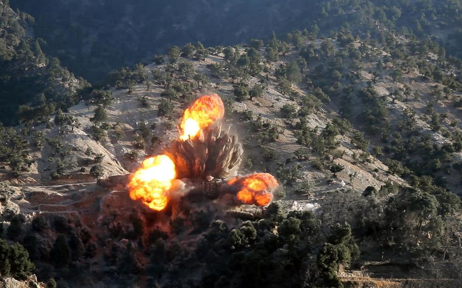 Two coalition airstrikes eliminated ISIS-K fighters and facilities in the Nangarhar and Jowzjan provinces of Afghanistan, Feb. 6, 2018. In this photo, an airstrike destroys an ISIS-K fighting position during Afghan Commando offensive operations in Mohmand Valley, Nangarhar province, on Feb. 4.