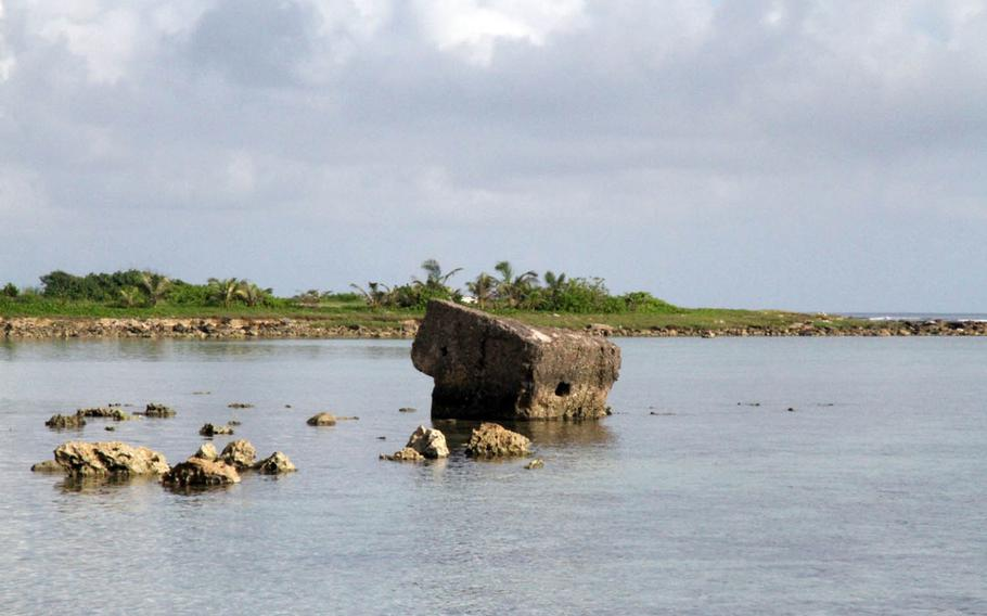 A Japanese pillbox from World War II sits crumbled at Asan Beach, Guam, nearly 74 years after the Marines landed to liberate the island on July 21, 1944.