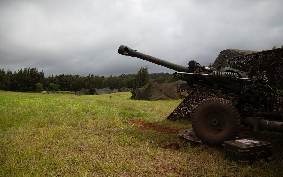 A battery of 105mm howitzers are lined up during Lightning Forge at Kahuku Training Area, Hawaii, Sunday, July 22, 2018.