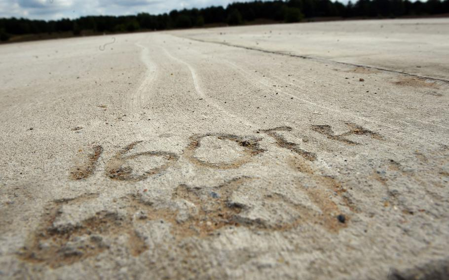 A mark left behind from the 160th Engineer Company with the Delaware National Guard after a helicopter forward arming and refueling point was set up for the Resolute Castle exercise at the Drawsko Pomorskie Training Area in Poland, Tuesday, July 24, 2018.