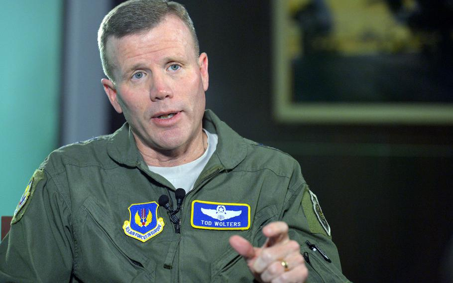 U.S. Air Forces in Europe and U.S. Air Forces Africa commander Gen. Tod D. Wolters during an interview with Stars and Stripes at USAFE headquarters on Ramstein Air Base, Germany, Oct. 4, 2016. Wolters said Wednesday that his command was examining how military infrastructure is spread out across Europe as part of a broader review of potential vulnerabilities.