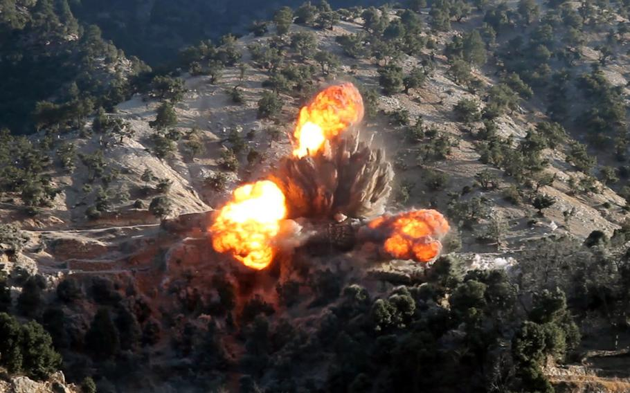 Coalition airstrikes hit ISIS fighters in Afghanistan's Nangarhar and Jawzjan provinces on Feb. 6, 2018. More than 150 ISIS fighters surrendered to the Afghan government on Tuesday, July 31, 2018, after their Taliban enemies recently launched an offensive against them.