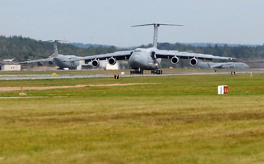 A C-5 Galaxy rolls toward the runway at Ramstein Air Base, Germany. U.S. military bases in Europe rely heavily on Russian energy supplies to operate. Lawmakers are now putting more pressure on the Pentagon to find alternatives amid concerns that Russia could cut access in a crisis.
