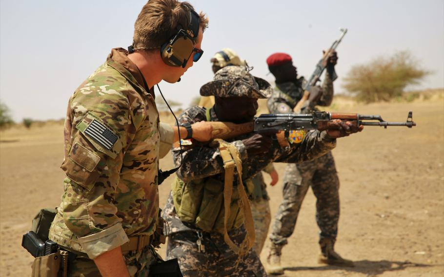 Chadian special operations soldiers receive basic rifle marksmanship and sniper training at a range Mar. 6, 2017, in Massaguet, Chad, as part of the exercise Flintlock 17. U.S. Africa Command wants to pull hundreds of troops from Africa and downsize special operations missions there.