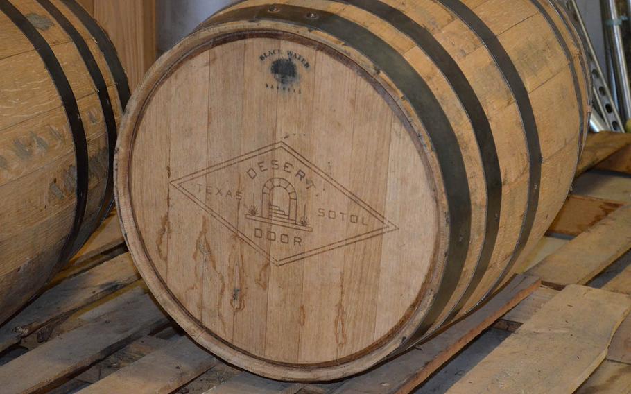 A barrel used for Desert Door Distillery's aged sotol.