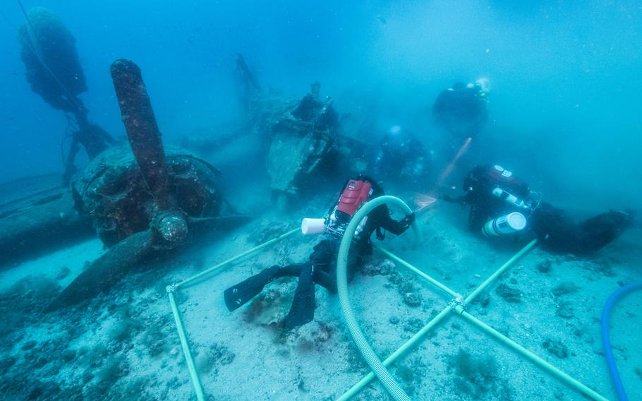 Divers conduct a mission for the Defense POW/MIA Accounting Agency to investigate the underwater wreckage of an aircraft located near the coast of Croatia in July 2017. DPAA conducts similar missions around the world in an attempt to locate, recover and identify Americans missing from past conflicts, including a renewed effort to account for missing World War II troops.