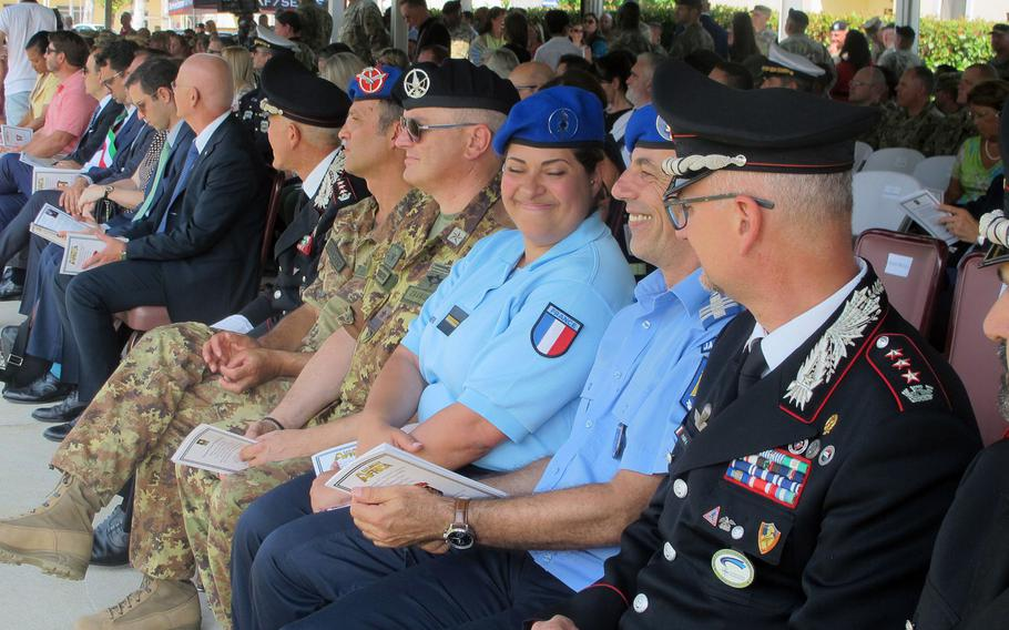 Officials, dignitaries and military officers from NATO and partner nations attend U.S. Army Africa's change-of-command ceremony Thursday, Aug. 3, 2018. The ceremony was narrated in English and Italian, except for the generals' speeches.