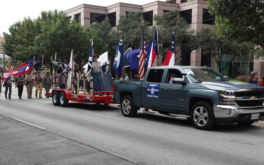 Members of the Descendants of the Confederate Veterans participate in the 2017 Austin Veterans Day Parade.