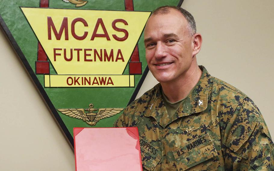 Col. Mark Coppess was relieved of command at Marine Corps Air Station Futenma, Okinawa, on June 5, 2018, due to a loss of trust and confidence in his ability to lead his command.