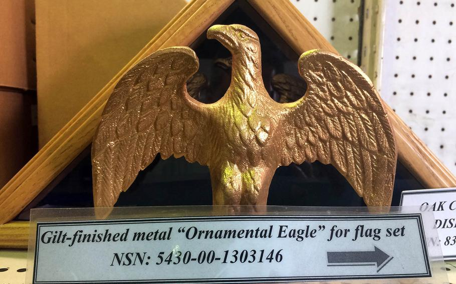 An ornamental eagle is among the items from sale at the General Services Administration store at Yokota Air Base, Japan.