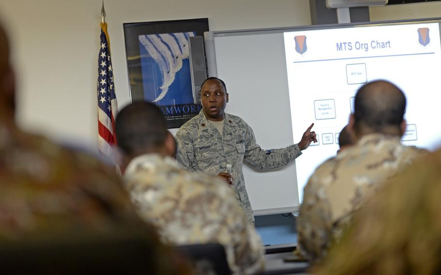 Maj. Patrick Mudimbe translates from English into French for participants in the African Partnership flight at Ramstein Air Base, Germany, Tuesday, Aug. 7, 2018.