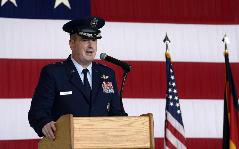 Brig. Gen. Mark R. August speaks to airmen after taking command of the 86th Airlift Wing during the wing change-of-command ceremony at Ramstein Air Base, Germany, Thursday, Aug. 9, 2018. August took over command from Brig. Gen. Richard G. Moore Jr.
