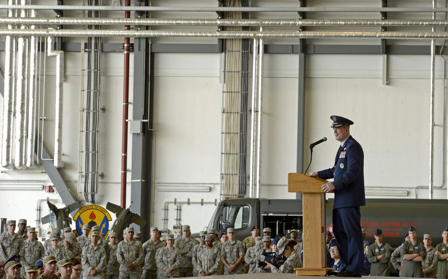 Brig. Gen. Mark R. August speaks to airmen after taking command of the 86th Airlift Wing during the wing change-of -command ceremony at Ramstein Air Base, Germany, Thursday, Aug. 9, 2018. August took over command from Brig. Gen. Richard G. Moore Jr.