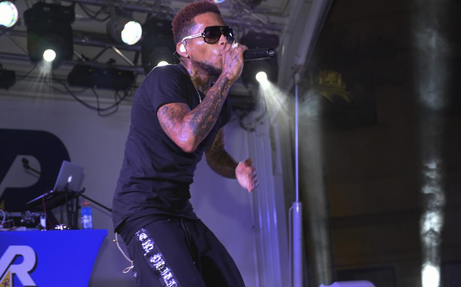 Kid Ink performs at Naval Station Bahrain for his sixth and final show of an Armed Forces Entertainment tour of Southwest Asia.