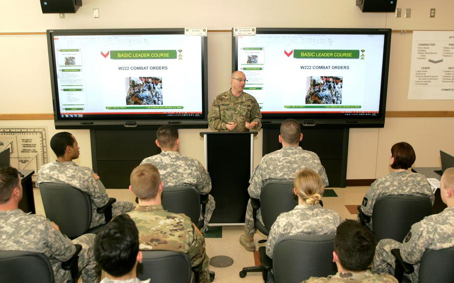 Staff Sgt. Kevin Hopper, instructor for the Basic Leader Course at the Staff Sgt. Todd R. Cornell Noncommissioned Officer Academy, leads a lesson with students on Jan. 19, 2017, at the academy at Fort McCoy.