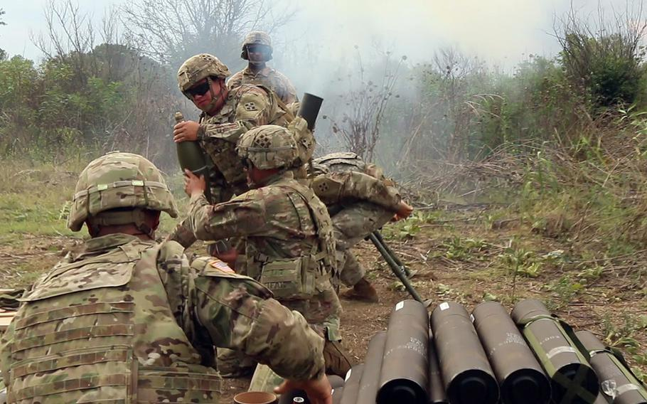 Mortarmen with the 61st Calvary Regiment fire off mortar rounds during training held in Macedonia on Aug. 2, 2018. The training will rotate groups of mortarmen through Aug. 20.