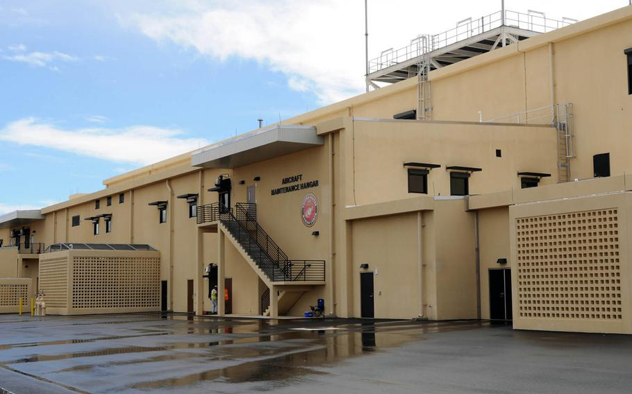 This aviation maintenance hangar was built at Andersen Air Force Base, Guam, to support Marine Corps Ospreys.