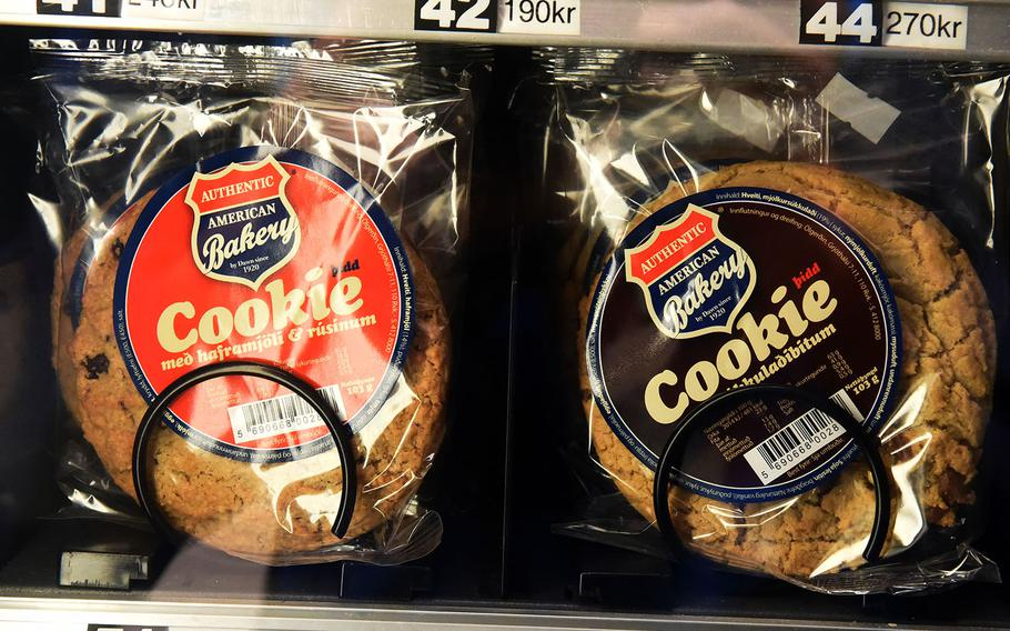 American style cookies in the vending machine of the Base Hotel and Hostel, which used to function as U.S. Navy barracks, in Keflavik, Iceland, Tuesday, August 15, 2018.