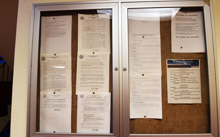 The original commanding officer's policy board at the Base Hotel and Hostel, which used to function as U.S. Navy barracks, in Keflavik, Iceland, Tuesday, August 15, 2018.