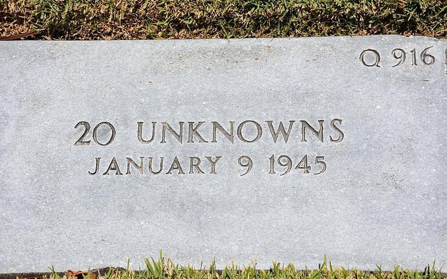 One of the 20 unknown gravestones at the National Memorial Cemetery of the Pacific believed to hold the commingled remains of about 400 prisoners of war who died aboard the Enoura Maru in January 1945.