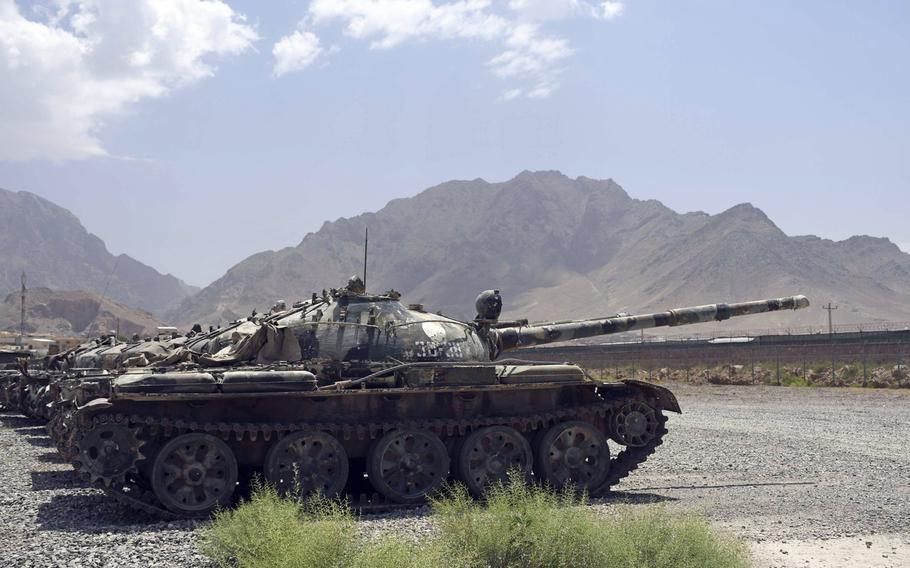 Decrpit Soviet-made tanks belonging to Afghanistan's lone tank battalion stand idle on an army base on the eastern outskirts of Kabul on Saturday, June 23, 2018. Many of the old tanks are being scrapped as the tank battalion transitions to an infantry unit.