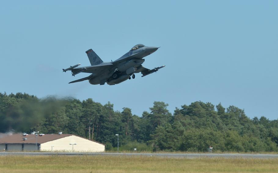 A Spangdahlem Air Base, Germany-based F-16 Fighting Falcon of the 480th Fighter Squadron takes off from the base, Thursday, Aug. 16, 2018.