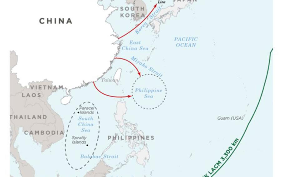 This map included in a recent Defense Department report to Congress shows the range of bombers launched from mainland China.