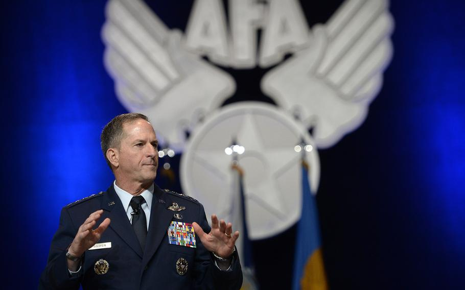 Air Force Chief of Staff Gen. Dave Goldfein announced his three focus areas, revitalizing squadrons, developing joint leaders and teams, and improving command and control, at the Air Force Association's Air, Space and Cyber Conference in National Harbor, Md., Sept. 20, 2016. Now he is asking Col. ''Ned Stark'' for help with officer evaluations.