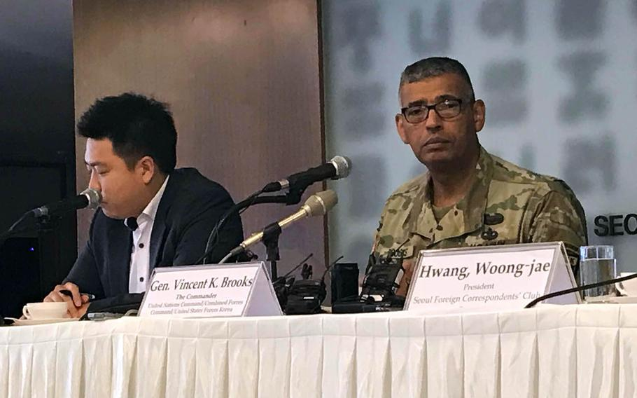 Gen. Vincent Brooks, leader of U.S. Forces Korea, the United Nations Command and the Combined Forces Command, attends a press conference at the Seoul Foreign Correspondents' Club, Wednesday, Aug. 22, 2018.