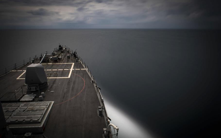 The guided-missile destroyer USS Carney transits the Black Sea on Wednesday, Aug. 22, 2018.
