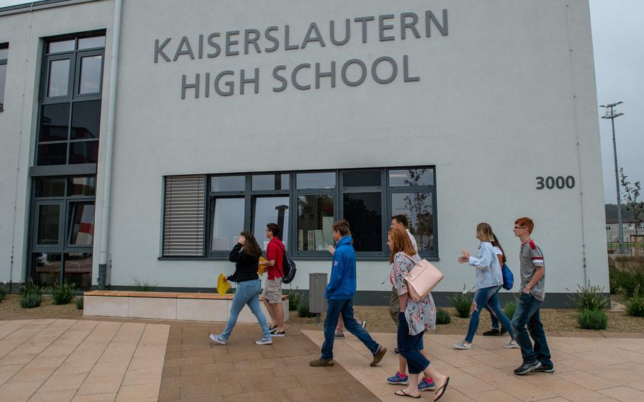 Teens and parents take a tour of the new Kaiserslautern High School during an open house, Friday, Aug. 24, 2018. Classes begin at the school on Monday, Aug 27.