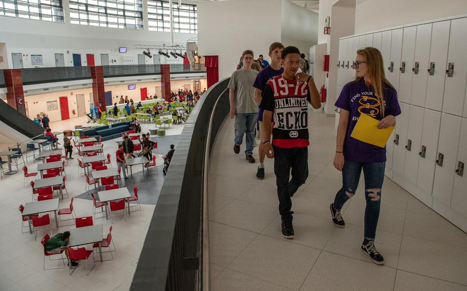 Teens and parents take a tour of the new Kaiserslautern High School during an open house on Friday, Aug. 24, 2018.  Classes begin at the school on Monday, Aug. 27.