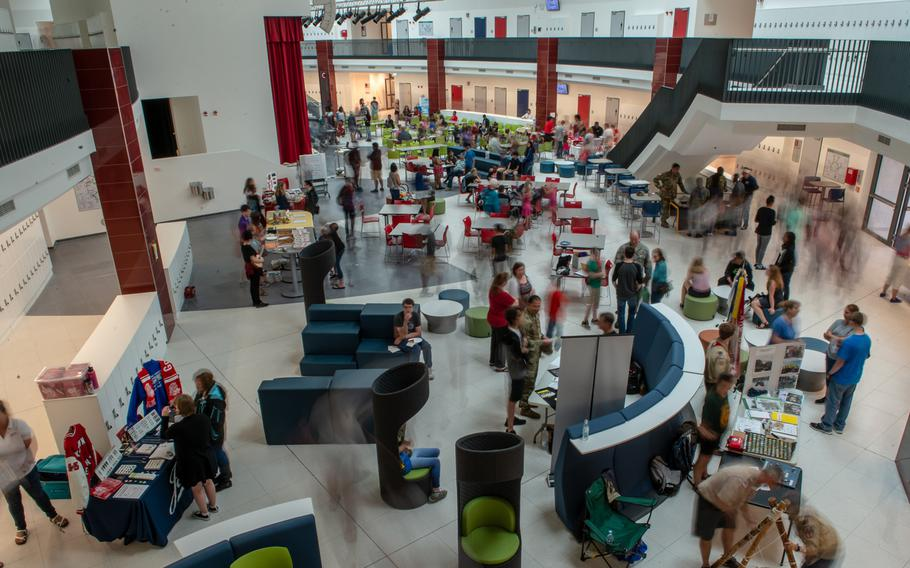 Students and parents attend an open house at the new Kaiserslautern High School, Friday, Aug. 24, 2018.  Classes begin at the school on Monday, Aug. 27.