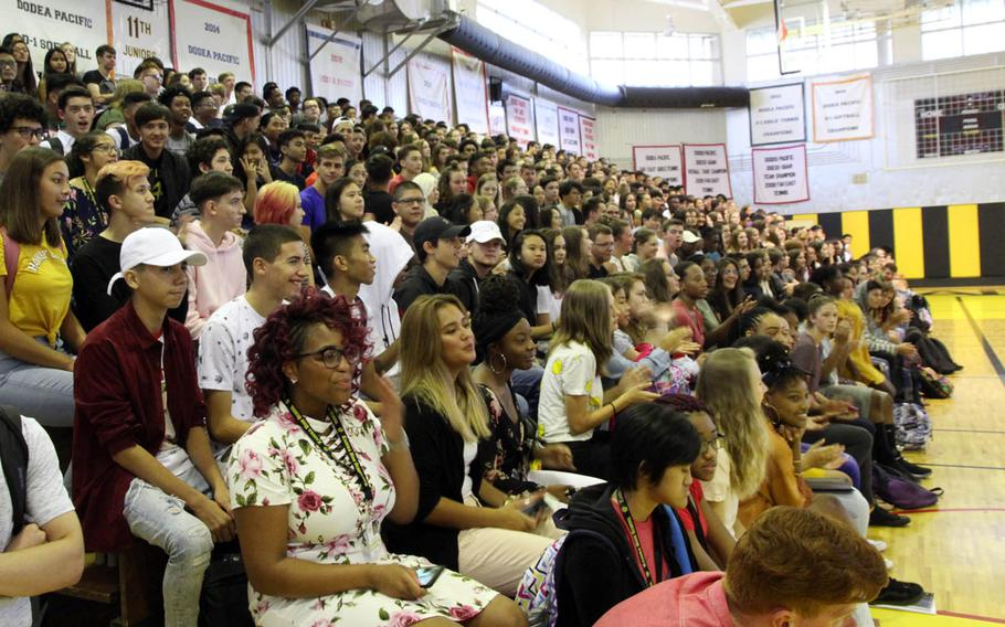 Students gather for a pep rally-style welcome at Kadena High School on Okinawa, Japan, Monday, Aug. 27, 2018.