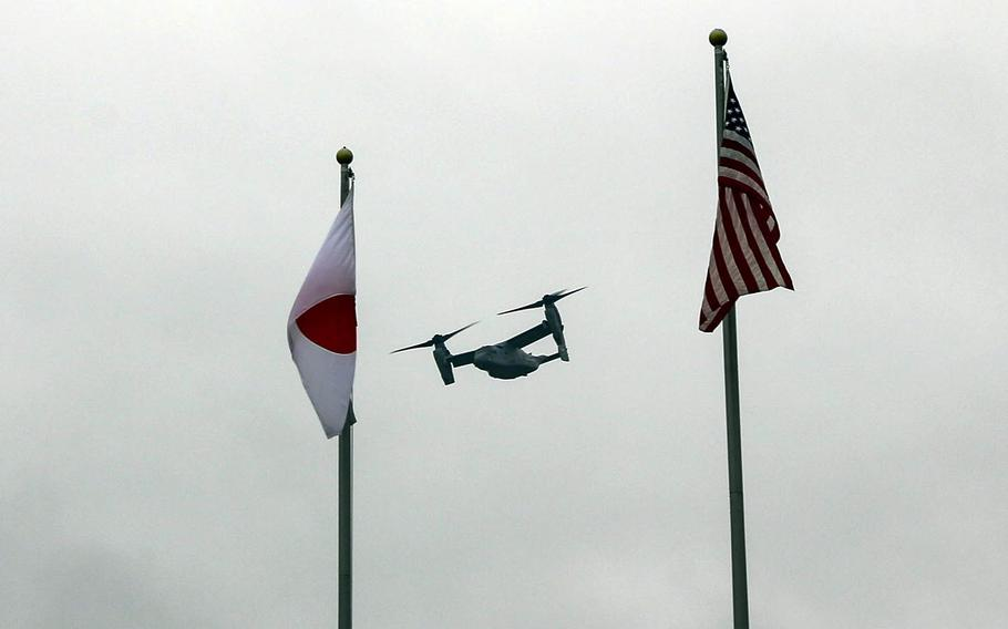 A V-22 Osprey assigned to Marine Medium Tiltrotor Squadron 262 takes off from Camp Fuji, Japan, April 27, 2017.