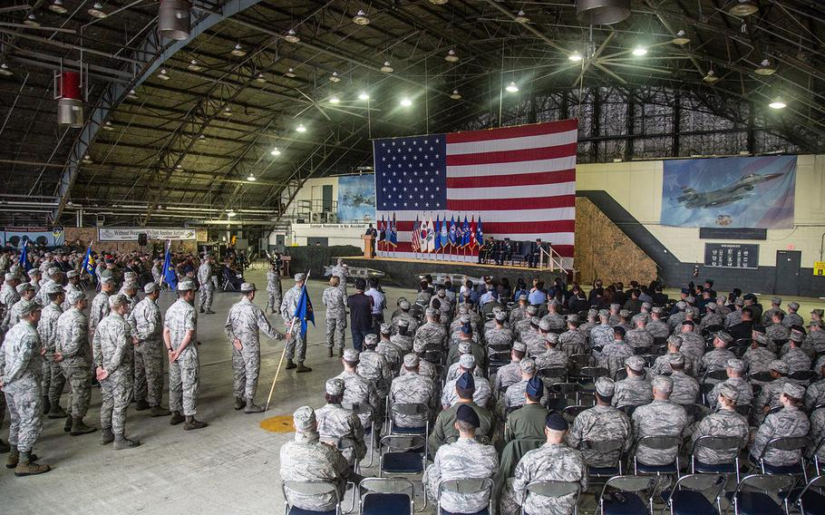 Airmen gather for the 7th Air Force change-of-command ceremony at Osan Air Base, South Korea, Monday, Aug. 27, 2018.