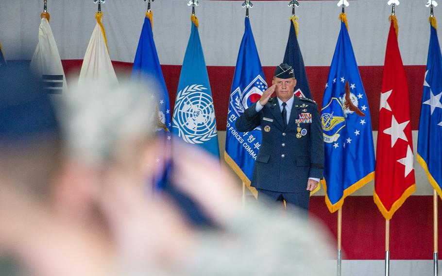 Lt. Gen. Thomas Bergeson gives his final salute as leader of the 7th Air Force at Osan Air Base, South Korea, Monday, Aug. 27, 2018.